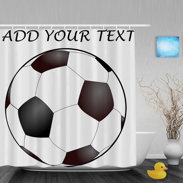 Personalized Soccer Ball Shower Curtain Customize Text Or Message Print Bathroom Curtains Polyester Fabric With Hooks