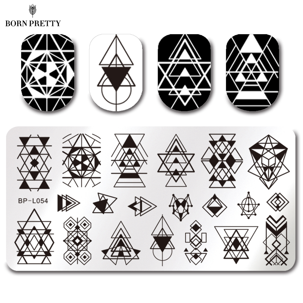 BORN PRETTY 5.5cm Round Nail Art Stamp Template Puzzle Geometry ...
