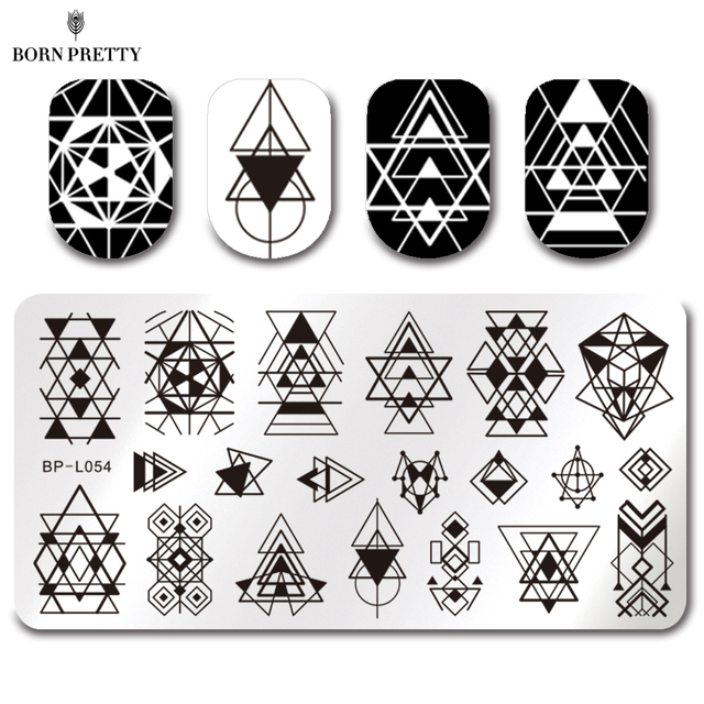 BORN PRETTY Rectangle Stamp Template Geometry Design 12*6cm Manicure Nail  Art Image Plate BP
