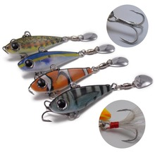 CATCHSIF Colorado Blade Tail Spin 4PCS with Rotating blades and Spare VMC Fishing Hooks