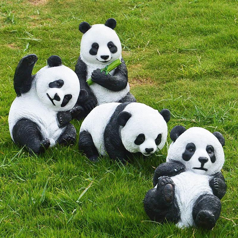 Simulation Panda Resin Crafts Outdoor Garden Landscape Sculpture Animal Ornaments Park Lawn Decoration Living Room Model Gifts