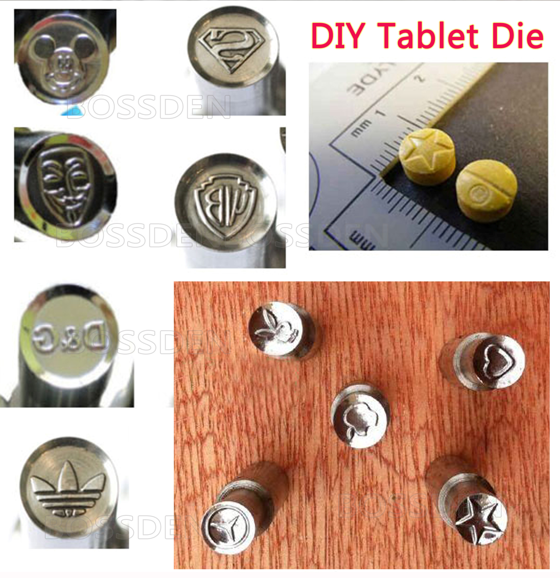 BOSSDEN Milk Tablet Die Pill Press Die Candy Punch Die Set Medicinal Tablet Making Stamp Mold