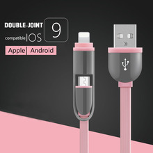 2 in 1 micro usb cable for android charger Converter usb cable for iphone 5 5s iphone 6 s 7 plus ipad air 2 Mobile Phone Cable