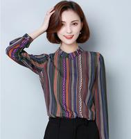 Elegant Blouse Shirt For Women Striped Shirt 2017 Autumn Women Chiffon Blouse New Tops Korean Style