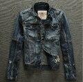 Мужчины бренд ретро отделки деним одежда верхняя одежда приталенный разрез винтажный куртка / S-3XL