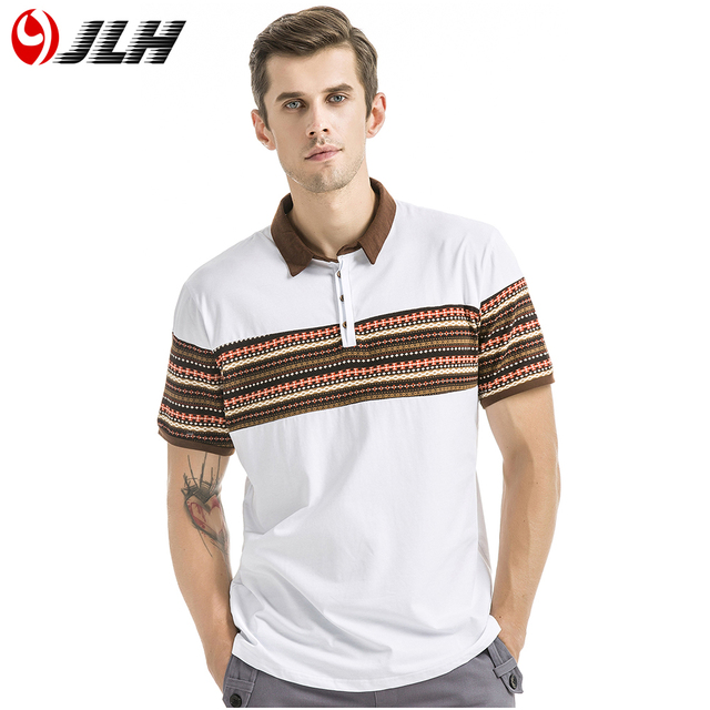 b1e9da08a6c5 JLH Man Polos Cotton Men Fashion Polo Shirt Lapel Clothes Summer Short  Sleeves Vintage Floral Print White Black Casual 70007