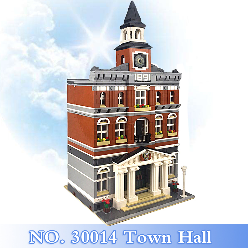 2018 New City Street Series 2861Pcs Town Hall Figures Building Blocks Bricks Set Children Toys Model Kits Gift Compatible 10224 10646 160pcs city figures fishing boat model building kits blocks diy bricks toys for children gift compatible 60147
