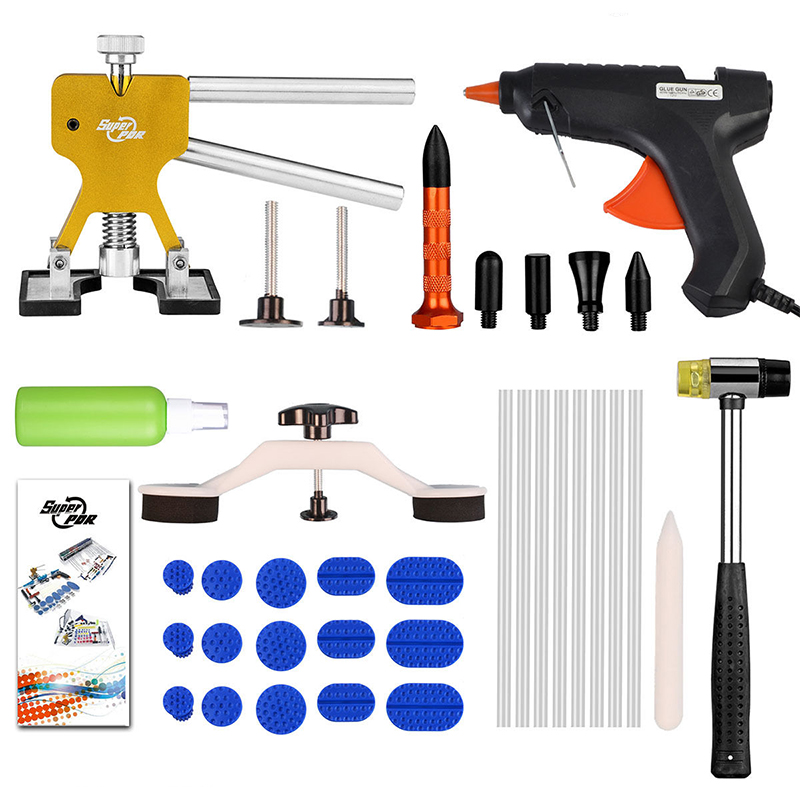 PDR Tools Kit Paintless Dent Repair Dent Puller Mini Lifter Bridge Puller Glue Gun Suckers Glue Tabs Aluminum Pen Hammer Tools  pdr rods kit with slider hammer dent lifter bridge puller set led line board glue stricks pro pulling tabs kit for pop a dent