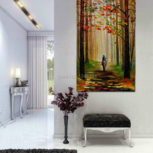 Autumn Stroll on a Horse PALETTE KNIFE Oil Painting On Canvas Handpainted modern wall art 60x120cm