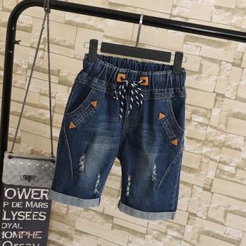 2018 Plus size 4XL 5XL Summer Ripped Jeans Short Pants Women Casual Lace Up Capris Ladies Wide Leg Denim Jeans Harem Pants C3200 1
