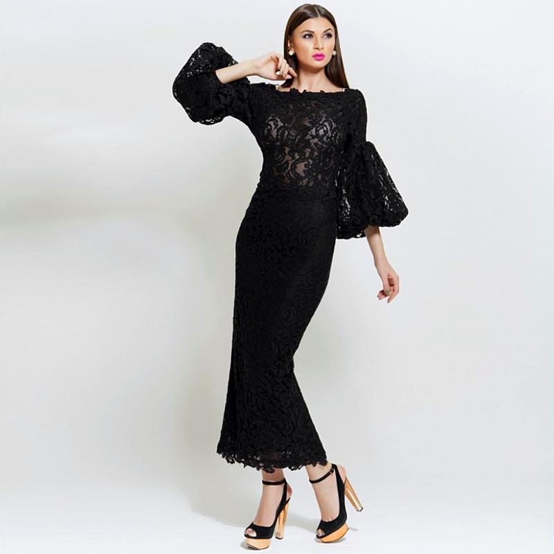 Black Lace Three Quarter Sleeves Mermaid Prom Gown Scoop Neck Ankle-Length Party Dress