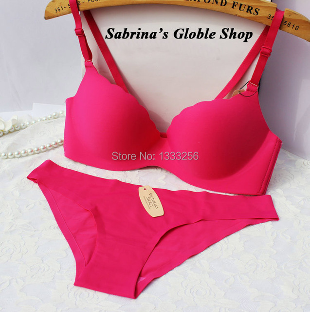 32f092ce21 Pink   Bra sets Seamless underwear black Briefs and bra knickers bright  yellow underpants