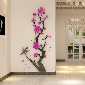 Chinese Style 3D Wall Stickers Plum Blossom Flowers Stickers Home Decorations Living Room Dinning Room Wall Decor Decals Acrylic 1