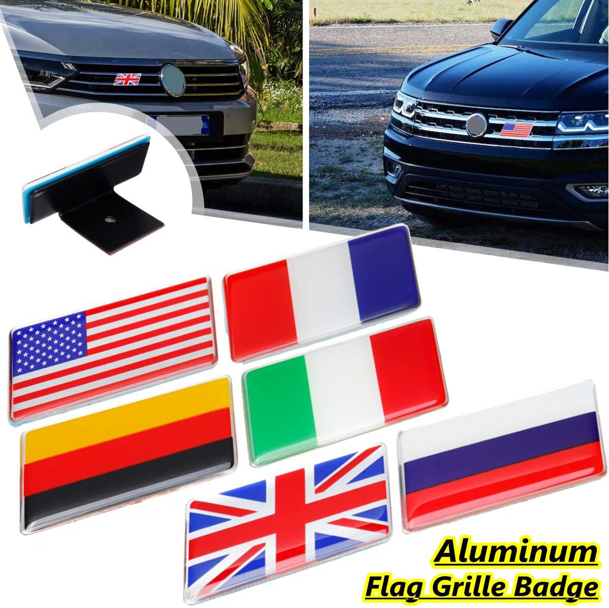 Australia USA German UK France Car Racing Sports Flag Emblem Badge Decal Sticker