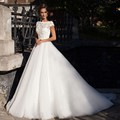 2017 New Design Romantic White Long Weeding Dresses Free Shipping Elegant A-Line Lace Backless Short Sleeves Bridal Gowns SSX17