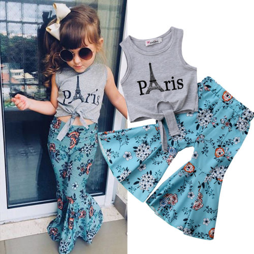 2018 New Kid Girls Clothes Baby Girls Vest Tops Eiffel Tower T-shirt+Wide Leg Floral Pants Summer Children Outfits Clothes