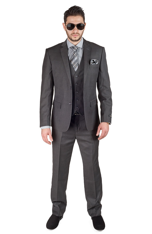 Slim Fit ปุ่มสองปุ่มสีเทาเจ้าบ่าว Tuxedos Notch Lapel ที่ดีที่สุด Man homme เจ้าบ่าวผู้ชายชุด (เสื้อ + กางเกง + เสื้อกั๊ก + tie)-ใน สูท จาก เสื้อผ้าผู้ชาย บน   3