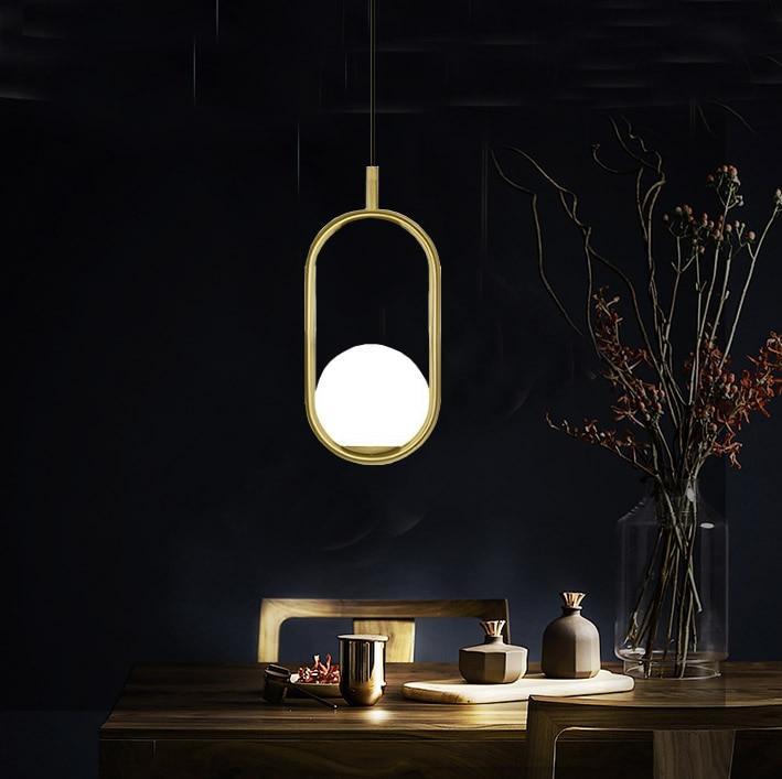 Modern Iron Ring Pendant Lights White Glass Ball CafeRoom/Bar Lamp Single Glass Pendant Lamps Decoration Indoor Lighting