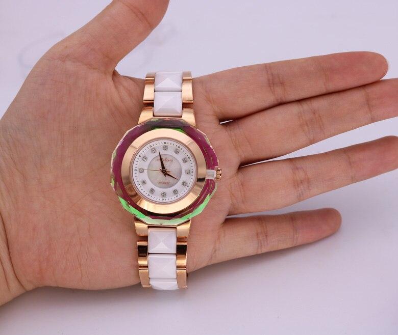 Mode multi face brillant cristal Montre classique MELISSA femmes en céramique Montre bracelet à la mode MELISSA Relogios Montre Femme F6285 - 6