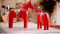 Een lot/2 stuks rode houten schilderen paard model handwerk Beeldjes woondecoratie speelgoed gift a1603