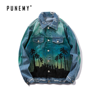 Funny City Coconut Printed Denim Man's Jackets Hip Hop Passion Letter Outerwear High Street Long Sleeve Swag Men Jeans Jackets