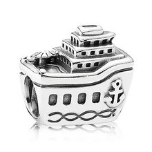 Authentic 925 Sterling Silver Charm Vintage Cruise Ship All Aboard Charms fit Lady Bracelet Bangle Diy Jewelry(China)