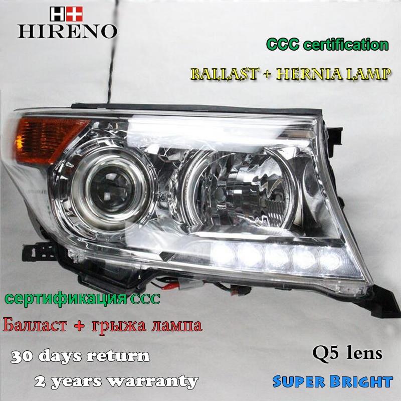 Hireno Headlamp for 2016 Toyota Land Cruiser LC200 Headlight Assembly LED DRL Angel Lens Double Beam HID Xenon 2pcs
