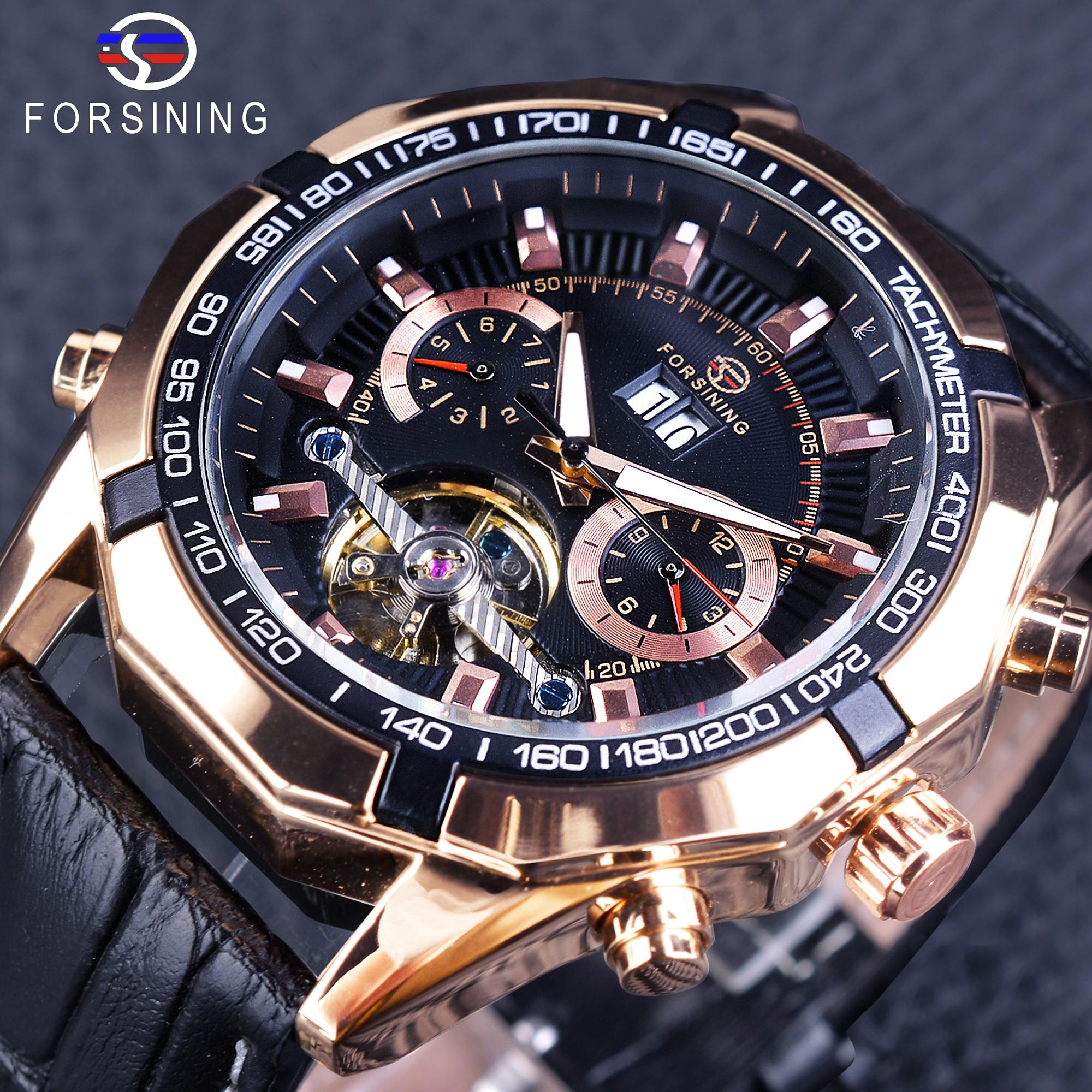 Forsining Tourbillion Fashion Sport Style Rose Golden Case Black Genuine Leather Calendar Display Automatic Creative Watches