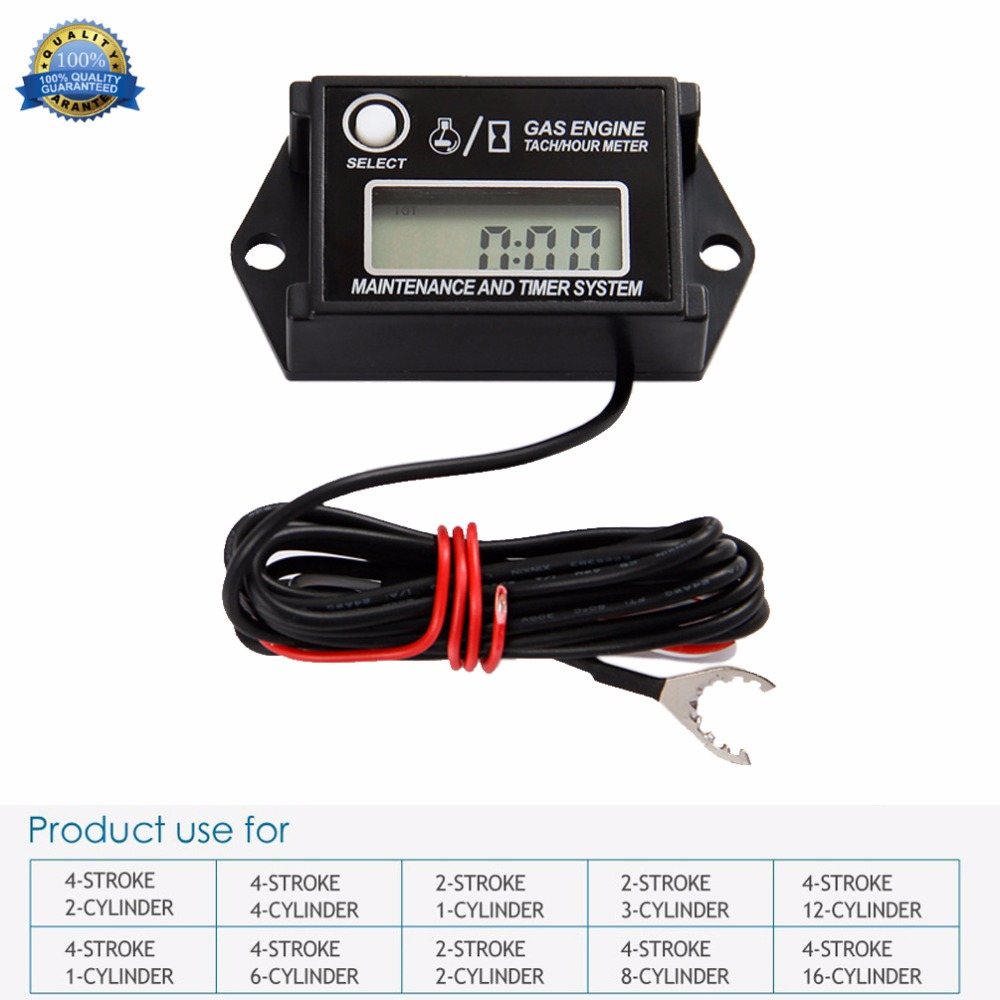 Digital Tachometer Hour Meter Tach Max RPM Recall for 2 & 4 Stroke Engine for jet ski chain saw pit bike lawn mower ATV jet boat