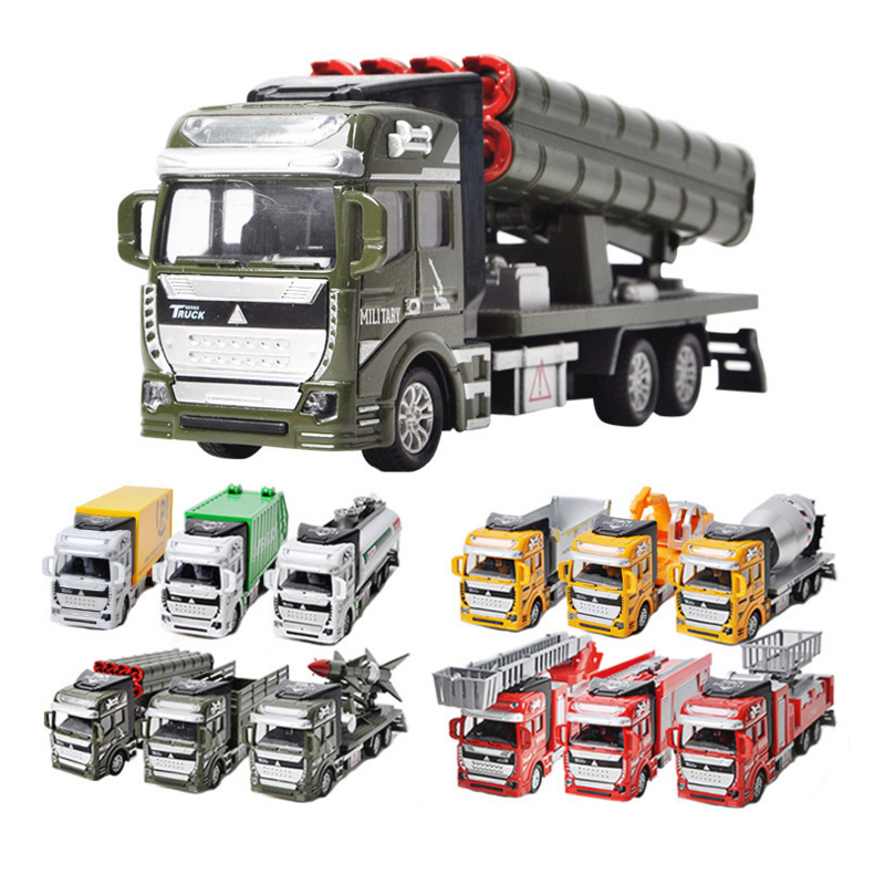 1Pcs New 12Types 1:48 Miniature Model Trucks Toy Alloy Engineering Vehicles Tanker Truck Garbage Car Excavator Toys Gift Collect