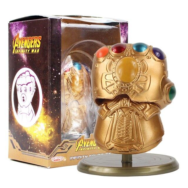 8 cm Vingadores Thanos Infinity Gauntlet Luvas De Ouro Infinito Guerra Com Base Superhero PVC Action Figure Toy Model Collection