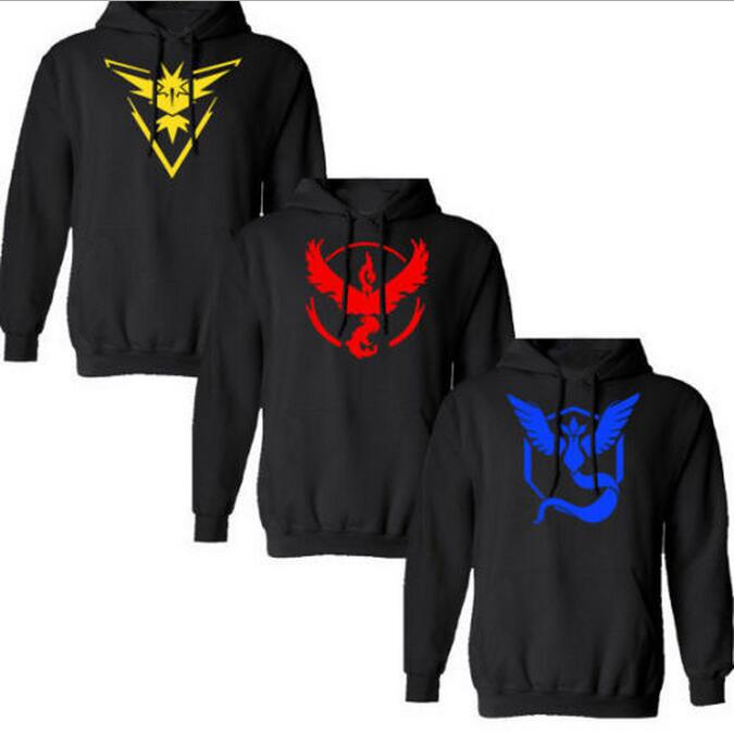 Pokemon Go Team Men Hoodie Sweatshirt Fashion Sweatshirts Hot Game Hip Hop Hooded Clothing Heren Felpe Suit Plus size 4XL