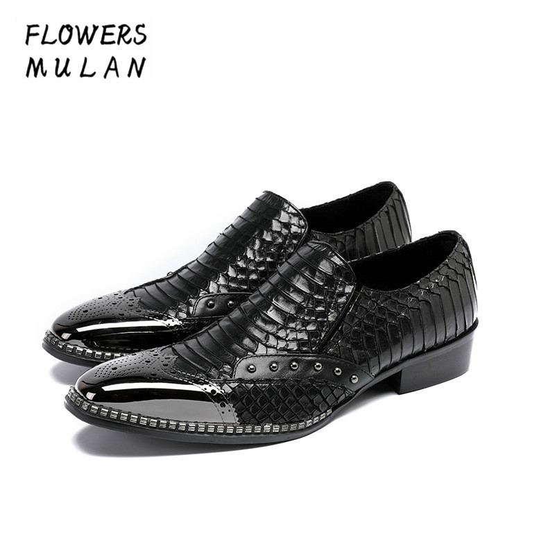 Pottery & Glass Tireless Embossed Pattern Leather Calzado De Hombre Metal Toe Slip On Dress Shoes Chunky Heel Male Party Wedding Footwear Male Zapatos