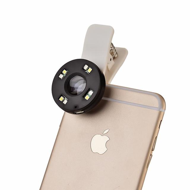 Zoom óptico de 70x universal clip de microscopio micro lente del telescopio del teléfono móvil lente de la cámara con luz led para iphone 7 6 8 s plus