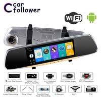 Allwinner Car DVR 7 Inch ADAS Touch Screen Dash Cam Android Rearview Mirror Dash Camera Dual Lens GPS Navigation Wifi Bluetooth