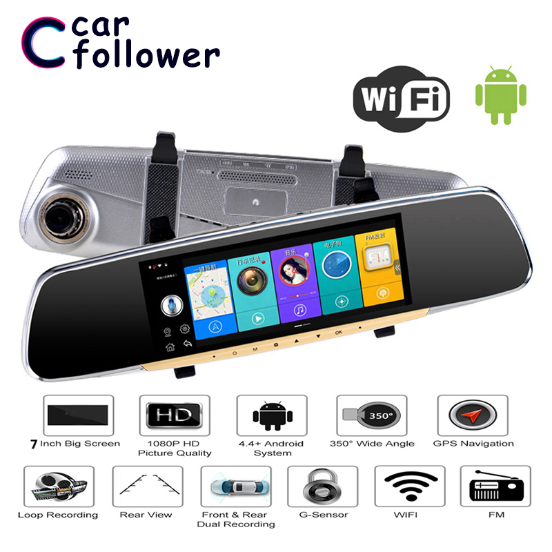 Allwinner <font><b>Car</b></font> <font><b>DVR</b></font> 7 Inch <font><b>ADAS</b></font> Touch Screen Dash Cam Android <font><b>Rearview</b></font> <font><b>Mirror</b></font> Dash <font><b>Camera</b></font> Dual Lens GPS Navigation Wifi Bluetooth image