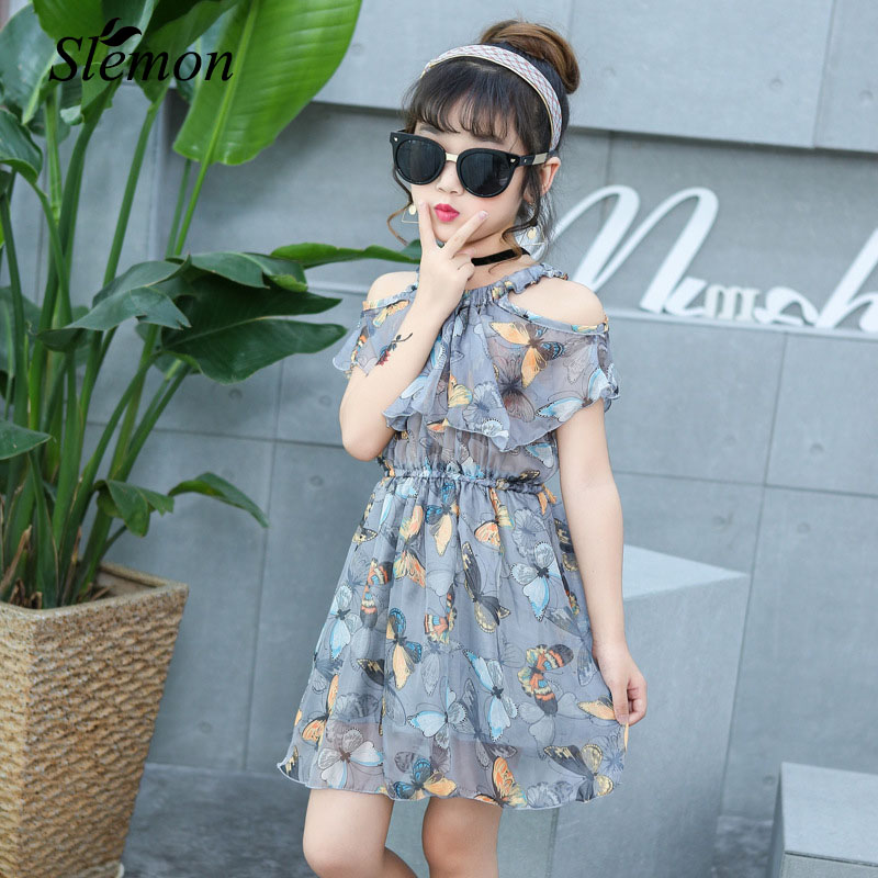 New Fashion Little Girl Chiffon Dress 2018 Cool Summer Strapless Butterfly Short Sleeve Dresses Kids Girl Style Boutique Clothes vintage v neck short sleeve butterfly print chiffon dress for women
