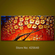 Canvas painting on the wall painting for entrance way canvas wall art photos palette knife hand painted Yellow flower tree