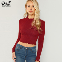 e8cbdb2238a Dotfashion Maroon Lettuce Trim Solid Long Sleeve Crop Tops Women 2019  Autumn Tee Shirt Womens Clothing