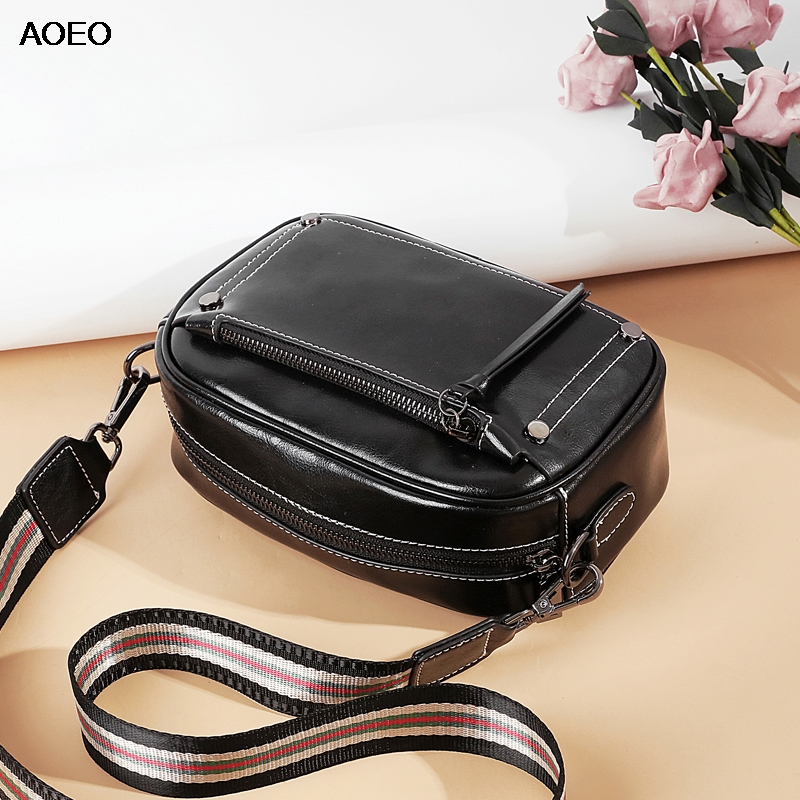 AOEO Women Shoulder Bag With Double Strap Wide Narrow Fashion Summer Split Leather Bags Lady Luxury