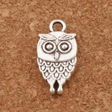 38pcs Lucky Cute Owl Bird Spacer Charm Beads 9.5x18mm Antique Silver/Bronze Pendants Jewelry DIY L988