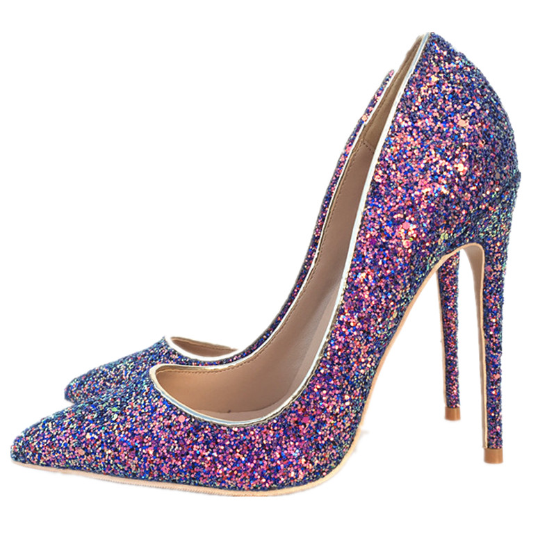 Women 12cm Thin High Heels Pumps Shine Sexy Shiny Leather Pointed Toe  Scarpins Stiletto Female Purple Bling-in Women s Pumps from Shoes on  Aliexpress.com ... a567df295eaa