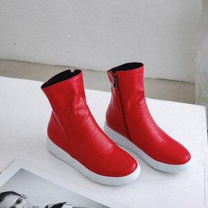 Image 5 - MORAZORA 2020 nuove donne di arrivo stivaletti stivali dellunità di elaborazione punta rotonda stivali autunno della chiusura lampo semplice confortevole casuale scarpe basse donna rosso