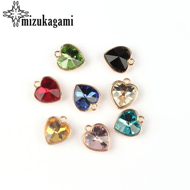 2017 Gold Alloy Colorful Crystal Small Hearts Charms 8pcs/lot 16*14MM DIY Neckla