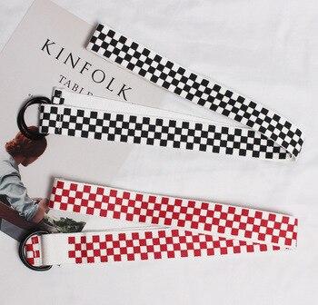135cm Harajuku Checkerboard Women Belt Casual Canvas Waist Belts Black White Plaid Waistband Punk Female Long Straps