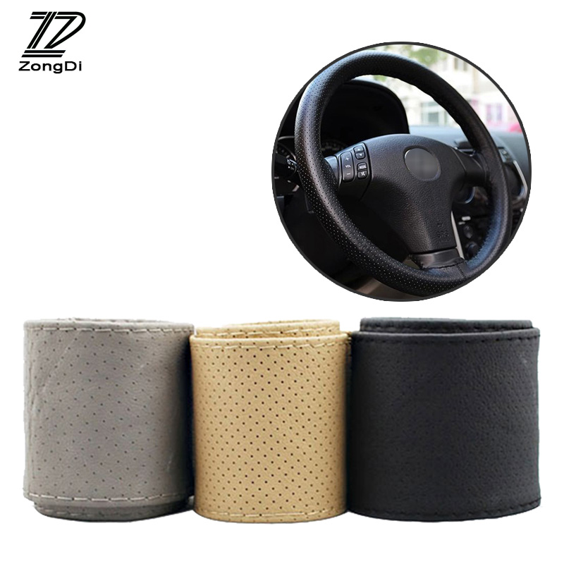 ZD 38cm Car Steering Wheel Covers Genuine Leather Hand Stitching For Skoda Octavia A5 A7 2 Fabia Yeti BMW E60 F30 X5 E53 Inifini