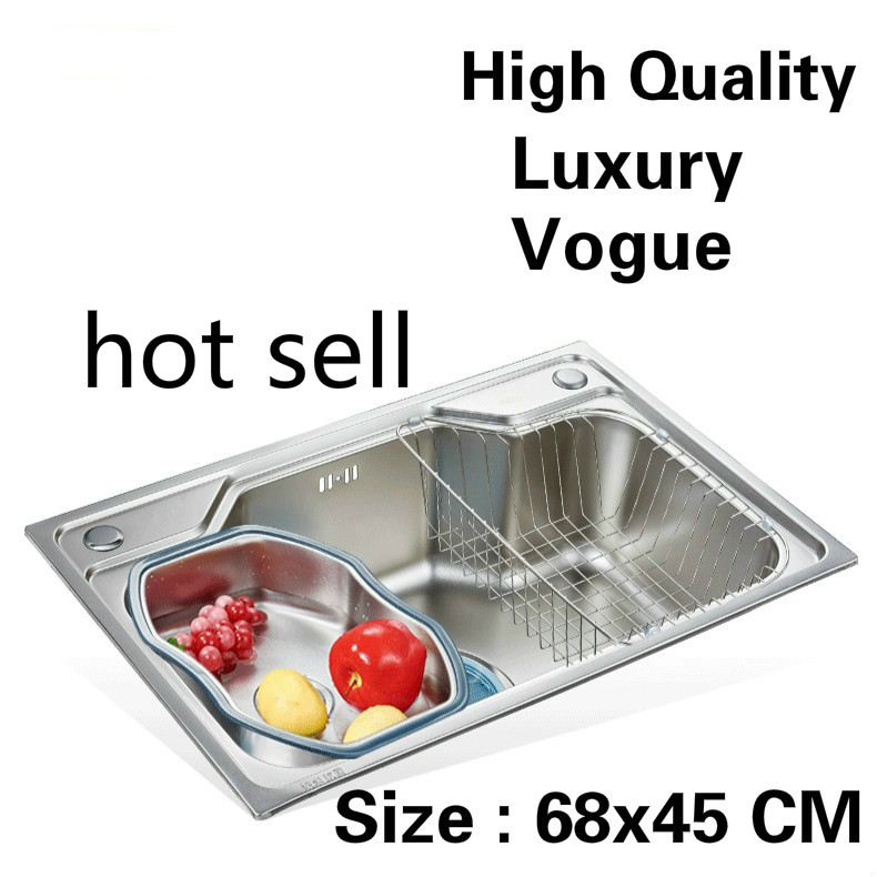 Free shipping Home luxury wash vegetables high capacity small kitchen single trough sink 304 stainless steel vogue 680x450 MMFree shipping Home luxury wash vegetables high capacity small kitchen single trough sink 304 stainless steel vogue 680x450 MM