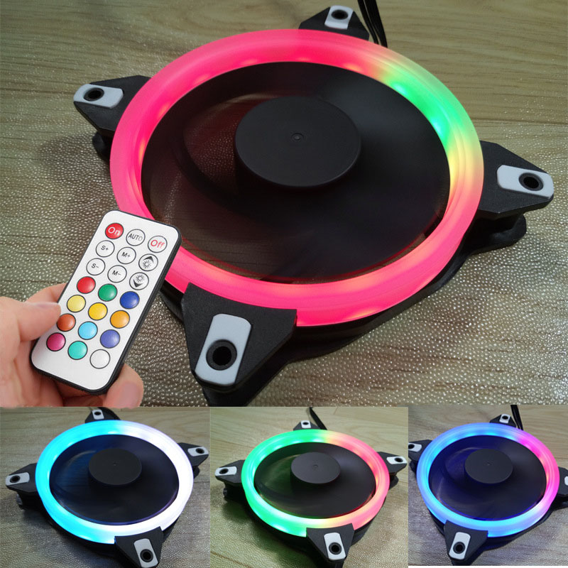 New Hot 12cm LED CPU Fan Mute RGB Adjustable Quiet Cooler Computer Case PC Cooling Fans 8 99