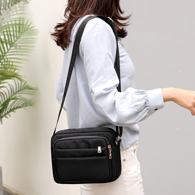 New Solid Nylon Women Messenger Bags Multi Pockets Design women bag 2019 Fashion Small Shoulder Bag Purple Black Female Handbags in Shoulder Bags from Luggage Bags