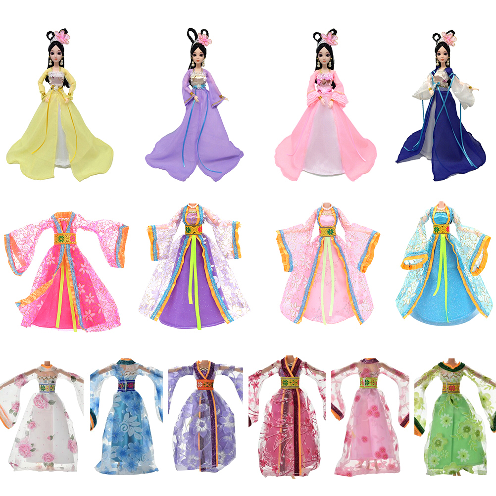 Colorful Evening Dresses Traditional Chinese Ancient Beauty Fairy Costume  Clothes For Barbie Doll Party Dress Doll 772e70e138a9